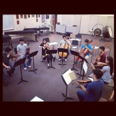 Rehearsing Mendelssohn Octet with incredible Saratoga High musicians-- all freshmen!